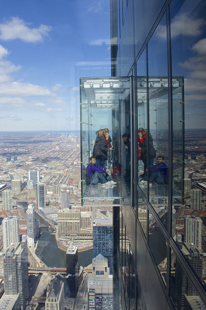 One of the three 'Skydecks' on the 103rd floor of the Willis (Sears) Tower in Chicago.  The advertising said these are retractable, which makes them even more amazing.